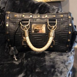 "Versace ""Snap Out Of It"" Quilted Black Leather Bag"